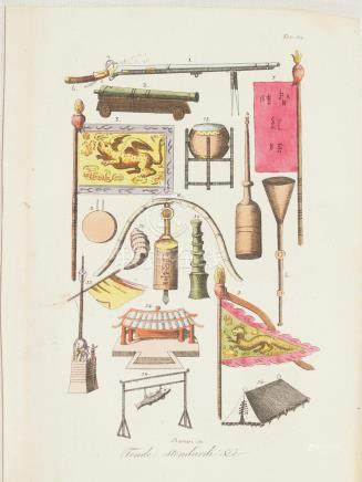 Print Chinese flags, pots, temple items, weapons China Berni
