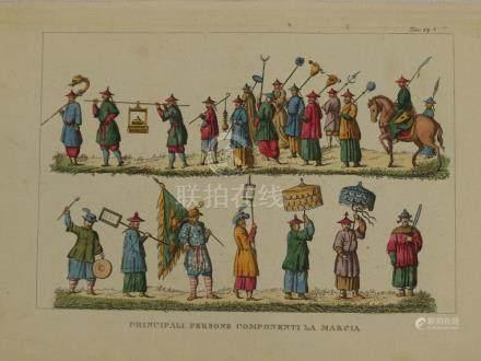 Print Chinese people marching China Bernieri 1825
