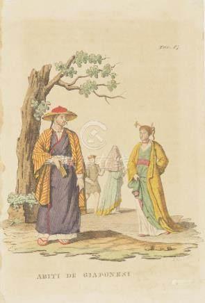 Print costumes Japanese man and woman Japan 1870 Rivelanti