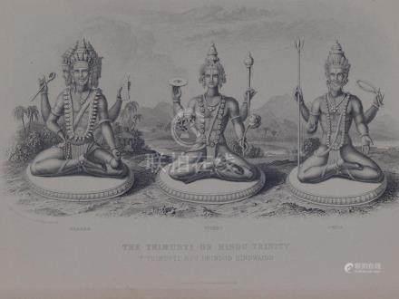 Print Hindu Trinity Induist Brahma Vishnu and Shiva 1850