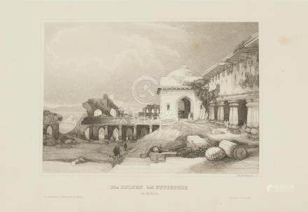 Animated view Ruins Futtepore India 1860