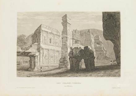 Animated view Temple Felsen Ellora India 1860