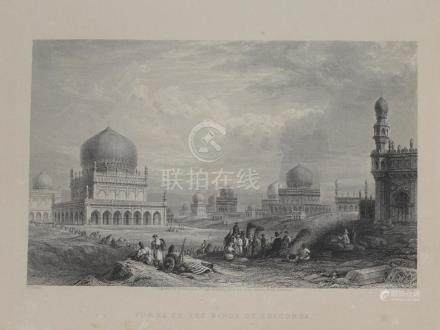 Animated View Tombs Kings Golkonda Golconda India 1845 Higha