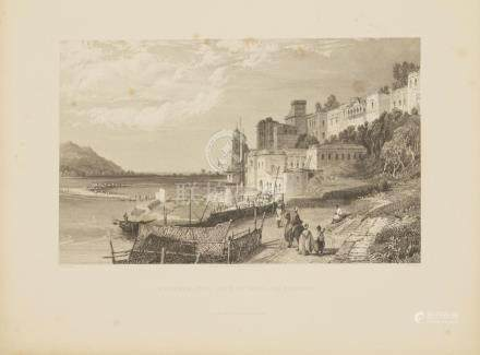 Animated View Haridwar, Ganges river Ganga India 1845 Havell