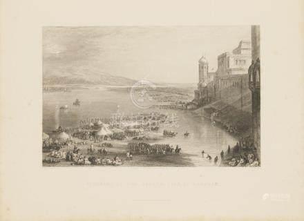 Animated View Haridwar, Ganges river Ganga India 1845 Higham