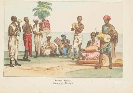 Print 1860 musical instruments India