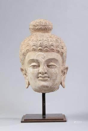 TETE DE BOUDDHA en stuc.  Art gréco bouddhique du Gandhara  Ier - Ve siècle apr