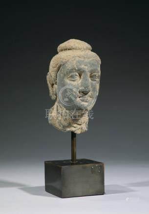 TETE DE BOUDDHA en schiste. Art gréco bouddhique du Gandhara  Ier - Ve siècle a