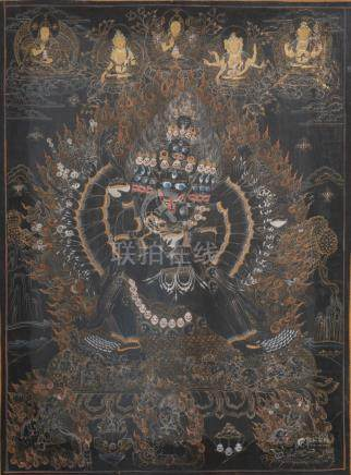 THANGKA peinte en noir représentant « le Bardo-Thodol » Népal XXe siècle (c'est