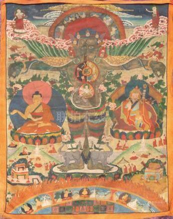 THANGKA peinte représentant Garuda (le protecteur  des enseignements de Bouddha