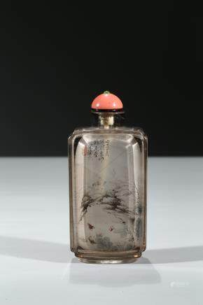 ZHOU LEYUAN: INSIDE-PAINTED 'LANDSCAPE' CRYSTAL SNUFF BOTTLE