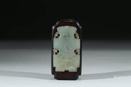 A ZITAN JADE EMBELLISHED BOX AND COVER