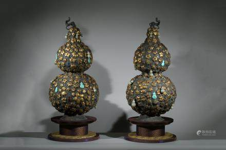 PAIR OF MAGNIFICENT & RARE IMPERIAL GILT SILVER GEMS DOUBLE GOURD VASES