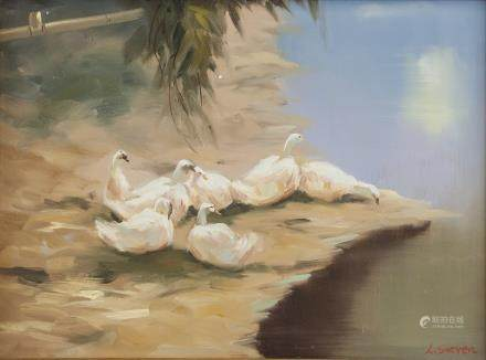 Oil on Canvas Landscape Swans Signed L. Steven