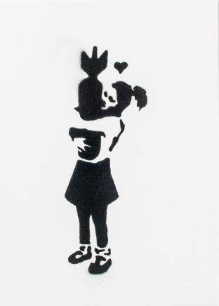 Banksy British Pop Spray Paint on Canvas Portrait