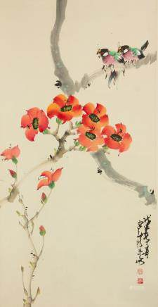 Zhao Shaoang 1905-1998 Chinese Watercolor Scroll