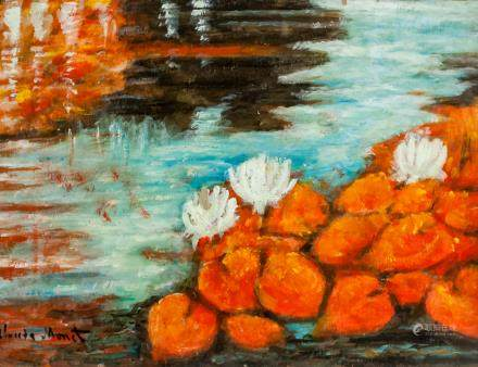French Impressionist Oil on Paper Signed Monet48