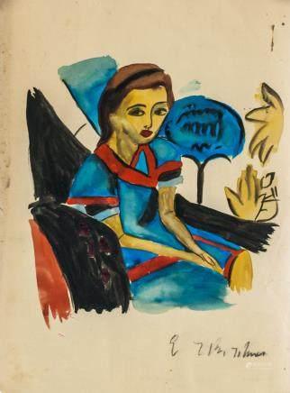 Ernst Kirchner German Expressionist Gouache