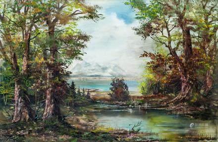 Karl Gaterman German Oil on Canvas Landscape