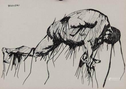Zazislaw Beksinski Polish Surrealist Ink on Paper