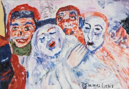 James Ensor Belgian Expressionist Gouache on Paper
