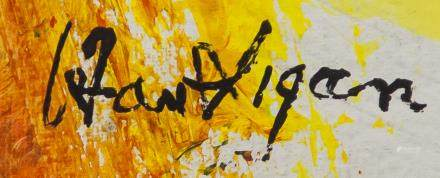 American Abstract Oil on Canvas Signed Illegibly