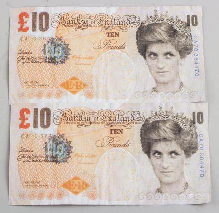 Banksy Di-faced Tenner Notes 2004 Offset Litho