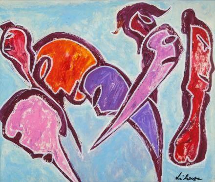 George Llianga Tanzanian Makonde Oil on Paper