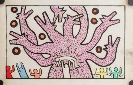 Keith Haring US Pop Art Mixed Media on Paper