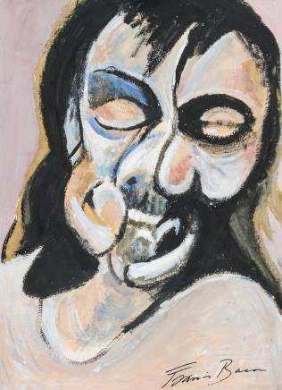 Francis Bacon British Expressionist Tempera Paper