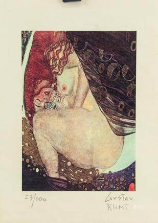 Gustav Klimt Austrian Symbolist Sign Litho 23/100
