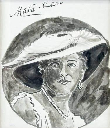 Mata Hari Dutch School Ink on Paper Portrait Woman
