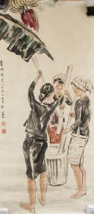 Jiang Zhaohe 1904-1986 Chinese Watercolor 1962
