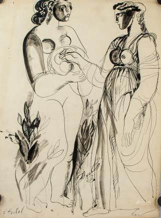 Erich Heckel German School Ink on Paper
