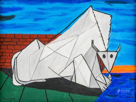 Oscar Dominguez Spanish Surrealist Oil on Canvas