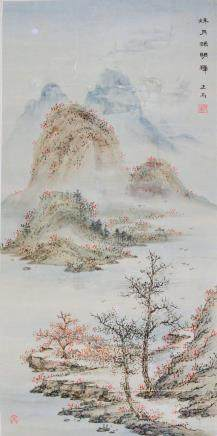 Liao Zhenger Chinese Watercolor Landscape Roll