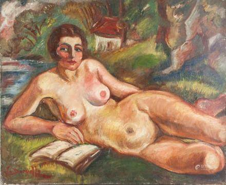 Jean Dorville French Oil on Canvas Nude Portrait