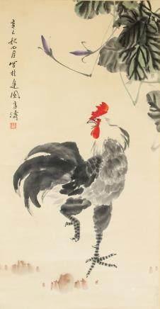 Wang Xuetao 1903-1982 Watercolour on Paper Scroll