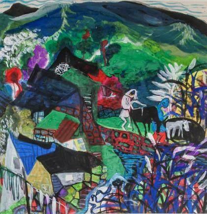 Xu Zhong Fang b.1943 Abstract Folk Art Painting