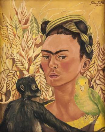 Frida Kahlo Mexican Surrealist Oil on Canvas 1942