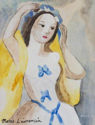 Marie Laurencin French Cubist Gouache on Paper