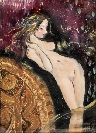 Gustav Klimt Austrian Art Nouveau Oil Nude