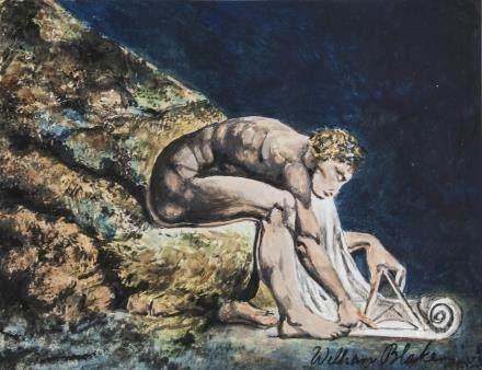 William Blake British Romanticist Gouache on Paper