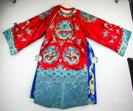 Chinese Imperial Style Red Dragon Robe