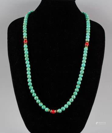 Chinese Turquoise Carved Necklace
