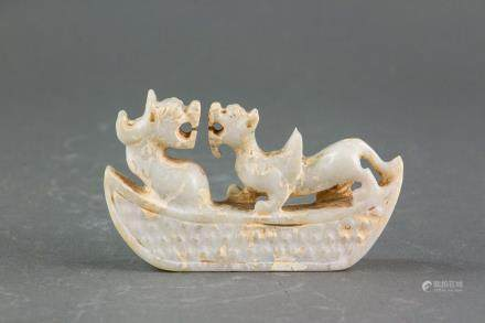 Chinese Archaistic White Hardstone Dragon & Tiger