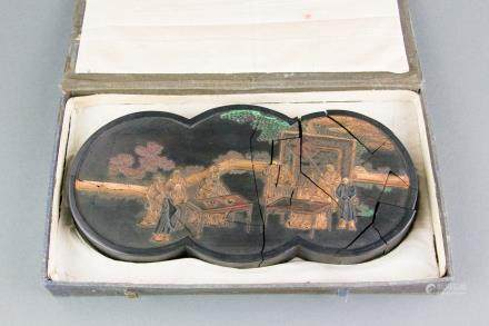 Chinese Gilt Ink Stone Carved Court Scene Cracked