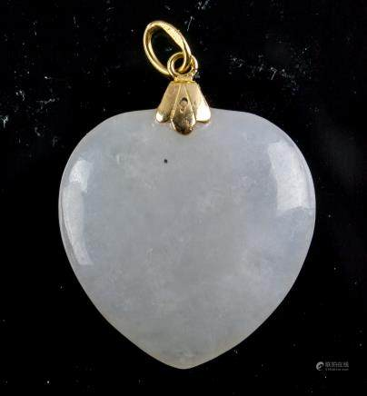 Fine 14K Clasp Lavender Jadeite Heart Pendant