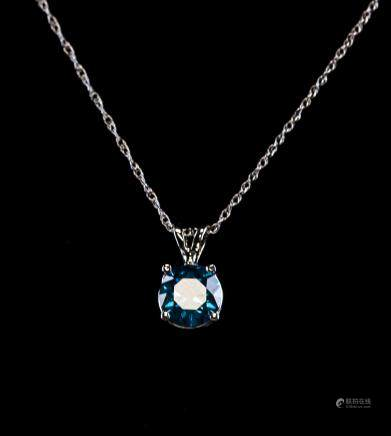 1.01 CT Intense Blue Diamond Necklace Pendant COA