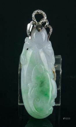Chinese Fine Green & Lavender Pendant w/ 18K Bail